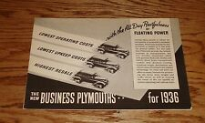 Original 1936 Plymouth Business Model Foldout Sales Brochure 36 Sedan Coupe
