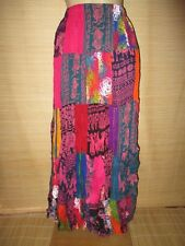 New Cotton Crinkle MIX PINK Red patchwork MAXI skirt onesize (8 - 16 best)