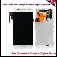LCD Screen Touch Digitizer & Frame White For Motorola Moto X Style XT1572 XT1575