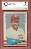 TY COBB 1961 FLEER CARD GRADED BECKETT BCCG 6 VG+ DETROIT TIGERS HALL OF FAME