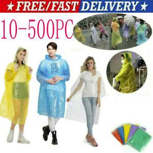 500pcs Unisex Raincoats Disposable Adult Emergency Rain Coat Poncho Hiking Campi