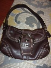 COACH Soho Brown Leather Small Hobo Flap Front Buckle Shoulder Bag #10318