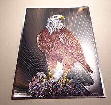 Vintage DUFEX English Print Bald Eagle 1980s Foil Print
