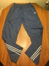 Adidas Mens S Sweat Pants Wind Poly Lined Stripes Soccer Track Slate Blue Nylon