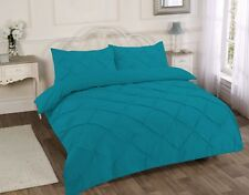 Luxurious Pintuck King Size Duvet Quilt Cover Cotton Bedding Set Pleated Cream