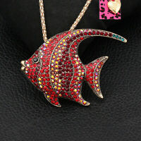 Betsey Johnson Crystal Tropical Fish Pendant Chain Animal Necklace/Brooch Pin