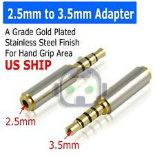 Gold 2.5mm female to 3.5mm Male Stereo Audio Headphone Jack Adapter Converter