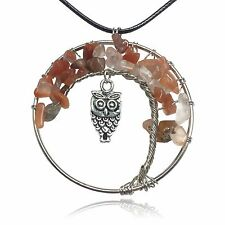 Light Natural Brown Owl Tree of Life Stone and Wire Pendant Necklace