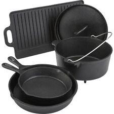 Preseasoned Cast Iron Cookware Set Dutch Oven Skillets Griddle Camp Fire Cooking