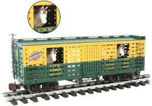 Bachmann-Animated Stock Car with Horses - Ready to Run -- Chicago & North Wester