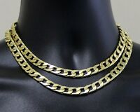 "2pc Choker Set Chains 9mm Cuban Links 14k Gold Plated Hip Hop 16"" 18"" Necklaces"