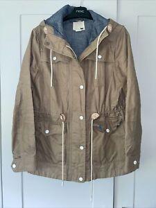 Levis Ladies Parka Coat Jacket Khaki Beige Hooded Oilcloth White Tab Sz Small