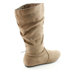 Women's Boots Slouch Below The Knee High New Faux Suede Flat Heels Booties Size