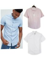 Burton Menswear Men's Short Sleeve Shirt Linen Mix Pink Blue White S M L XL XXL