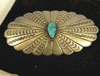 1940's Navajo BLUE GEM TURQUOISE Oval Pin with STAMPING Coin or Sterling Silver