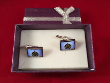 Masonic Cuff links in Blue Enamel and 925 Silver, Stunning