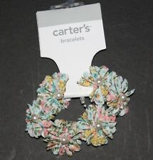 New Carter's Floral Pearl Stretch Bracelet NWT Jewelry Accessory One Size Girls