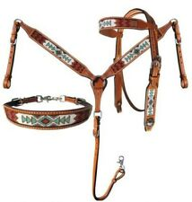 Showman Argentina Cow Leather Beaded Navajo Headstall/Breast Collar/Wither Strap