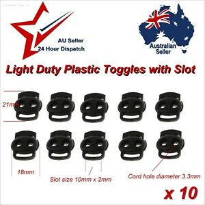 Bean Cord Lock Toggle Stopper x10 Strap Slot Hole Diam 3mm toggles stoppers loop
