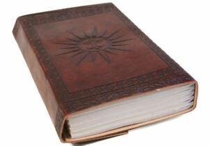 Camel Hide Leather Journal Sun, A5 Plain Pages - Handmade by Life Arts