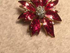 Beautiful Red Enamel Poinsettia brooch pin