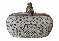 Alexander McQueen Clutch Punk Skull White Leather Studded  Box Clutch