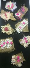 8 Handmade Fabric Clusters Embellishments Great For Junk Journals, Scrapbooks