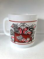 Vintage Glasbake Milk Glass I'D RATHER BE THE BOSS Coffee Mug Tea Cup Funny