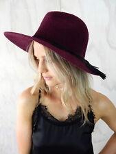 BURGUNDY STRAW FEDORA Hat Tassel Belt Festival Sun Purple Womens Unisex Fashion