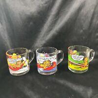 Set of 3 McDonald's Garfield Cat Glass Collectors Mugs