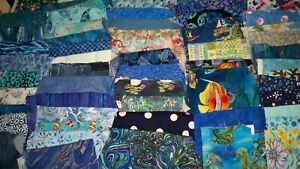 6+ Pounds of Blue and Teal Fabric Scraps, Quilting, Water Color,
