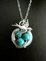 Animal Bird 925 Silver Turquoise Pendant Necklace Jewelry Men Chain Easter Eggs