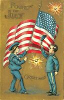 Fourth of July 4~ Boys Salute USA Flag~Firecrackers Patriotic Postcard-a-43