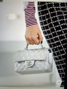 Chanel Silver Metallic Quilted Caviar Rectangular Mini Flap Bag with Top Handle