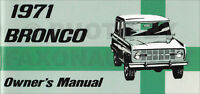 1971 Ford Bronco Owners Manual Owner User Instruction Guide Book