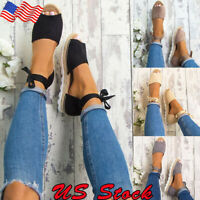 Women Espadrilles Ladies Flat Low Wedge HeelSummer Sandals Beach Pumps Shoes New