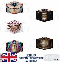 Halloween Face Mask,Reusable The Joker,Goth Skull,Scary Horror, Fashion,Washable