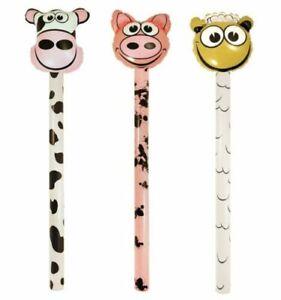 Inflatable Farm Animal Sicks Fancy Dress Party Prop Cow Sheep Pig  118cm