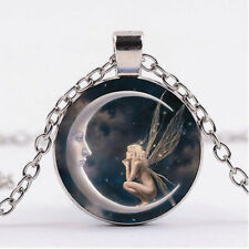 Fairy on The Moon CABOCHON Glass Charm Pendant Silver Chain Necklace Jewelry