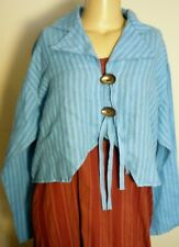 SALE CYNTHIA ASHBY LINEN JACKET WITH ANTIQUE SPOONS  BLUE STRIPED  O/S RARE !!!