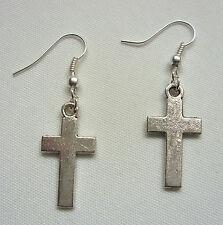 A Pair of Ladies Small Cross Charm Tibetan Silver Earrings, Karma.