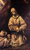 Wonderful Oil painting El Greco - St Francis and Brother Leo Meditating on Death