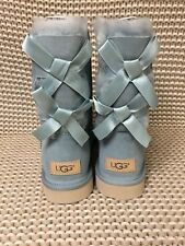 UGG SHORT BAILEY BOW II SUCCULENT WATER-RESISTANT SUEDE BOOTS SIZE 12 WOMENS