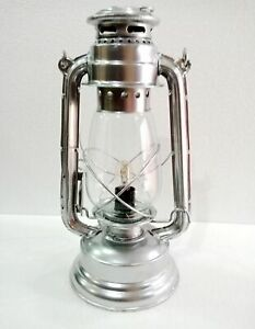 Halloween Electric Vintage Stable Silver Lantern Lamp with Blown Glass Chimney