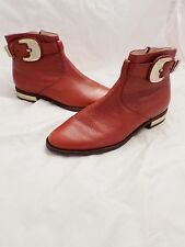 COLE HAAN Nike Air red leather gold buckle Mod Chelsea ankle boots 6B