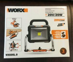 WORX 20V Cordless Led Portable Work Light Lithium-Ion WX026L.9 BARE TOOL