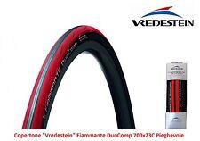 """Copertone Vredestein Fiammante DuoComp 700x23C Rosso per Bici 28"""" Corsa - Pista"""