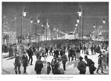 Steyr, elektrische Ausstellung der beleuchtete Festplatz Original-Holzstich 1884