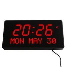 MULTI LED Numérique Horloge murale avec affichage de date alarme Grande Rouge