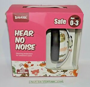 Adjustable Kid Baby Safety Ear Muffs Protection Noise Canceling PINK w/ Animals